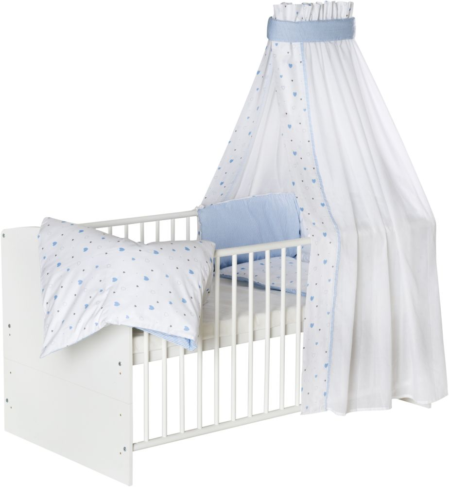 Schardt 'Classic White' Kombi-Kinderbett weiß, inkl. Ausstattung 'Herzchen' blau Bild 1