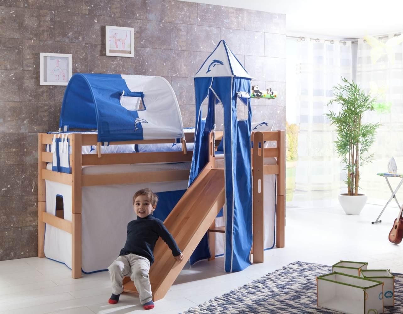 Relita 'Eliyas' Spielbett mit Rutsche und Textilset Vorhang, 1-er Tunnel, Turm und Tasche weiß/Delfin Bild 1