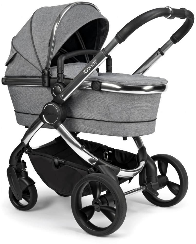 iCandy 'Peach' Kombikinderwagen 2020, Chrome-Light Grey, inkl. Converter Base, 2te Babywanne, 2ter Sportsitz, Regenschutz, Ober und Unter Babyschaleadapter Bild 1