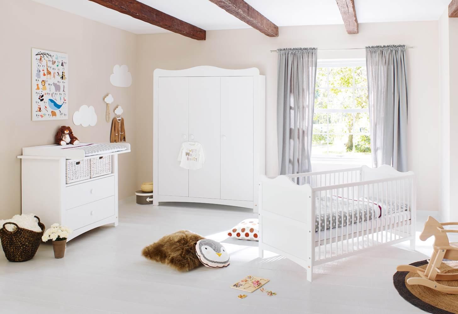 Pinolino 'Florentina' 3-tlg. Babyzimmer-Set weiß, breit, groß Bild 1
