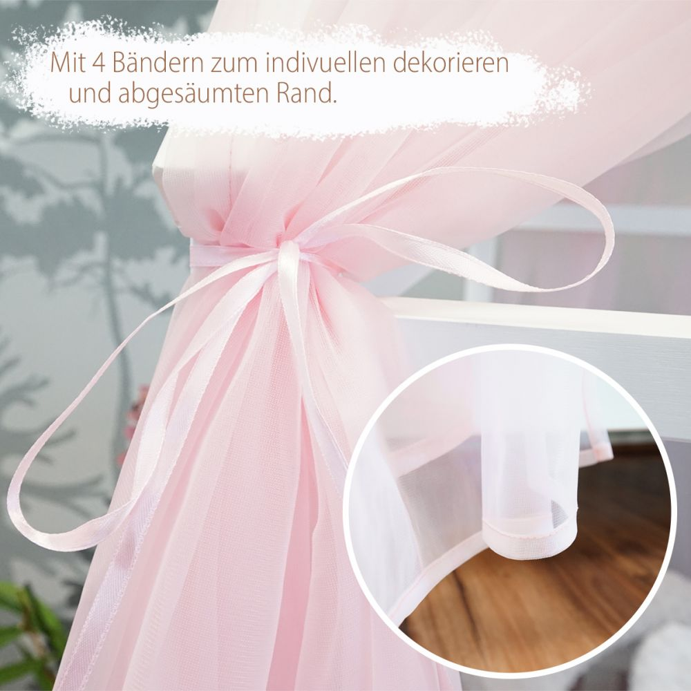Hausbett Deko-Set rosa mit Baldachin, Wimpel und Lichterkette für Hausbetten bis zu 2m Länge in weiß/grau Bild 1