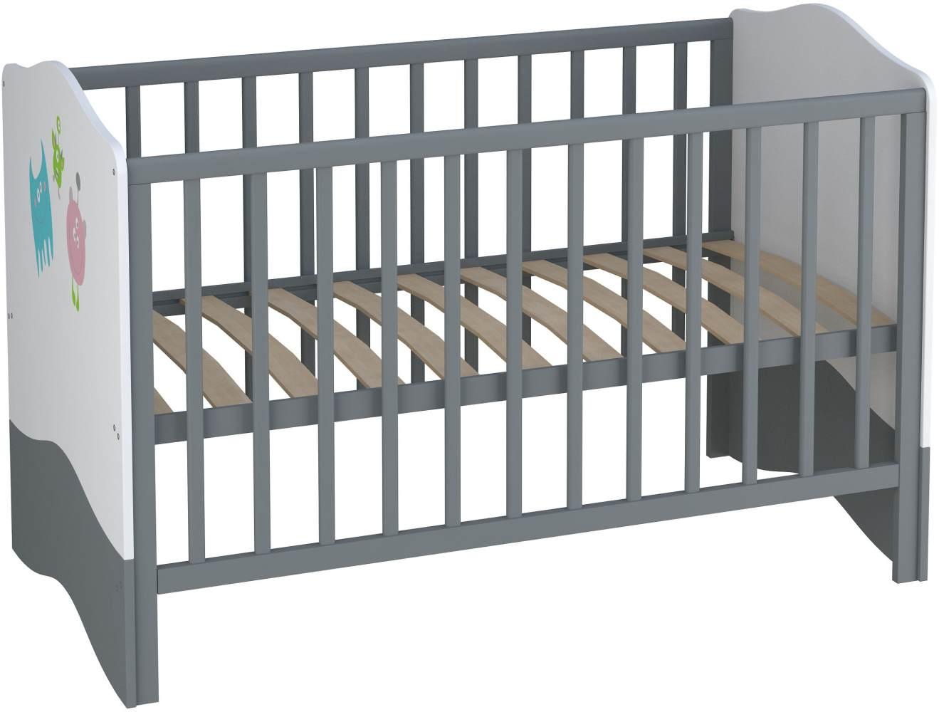 Polini Kids Kombi-Kinderbett Basic Monsters weiß-grau 140x70 cm Bild 1