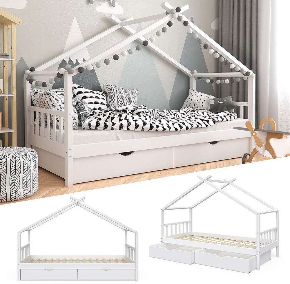 VitaliSpa 'Design' Hausbett weiß, 90x200 cm, inkl. Schubladen Bild 1