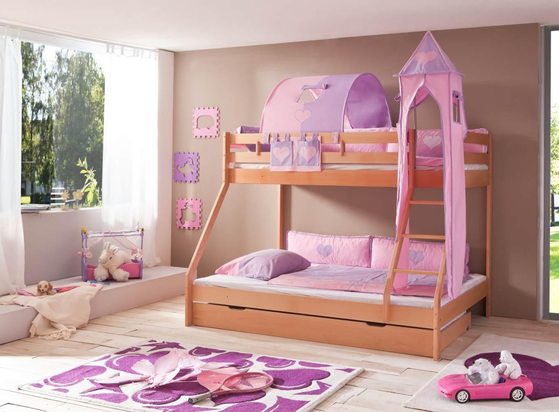 Relita 'Mike' Etagenbett natur, inkl. Bettschublade und Textilset 1-er Tunnel, Turm und Tasche 'purple/rosa/herz' Bild 1