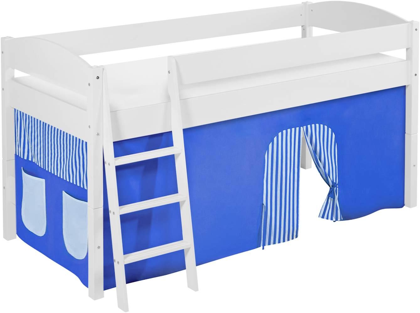 Lilokids 'Ida 4105' Spielbett 90 x 200 cm, Blau, Kiefer massiv, mit Vorhang Bild 1