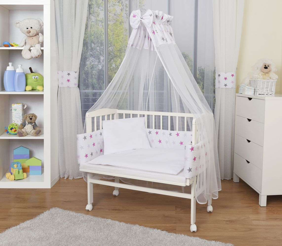 WALDIN Beistellbett mit Matratze und Nestchen, höhenverstellbar, Ausstattung Sterne-grau/rosa, Gestell Weiß lackiert Bild 1