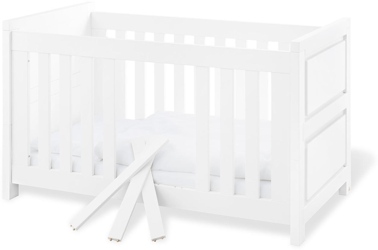 Pinolino 'Milk' Kombi-Kinderbett weiß, 70 x 140 cm, 3 Schlupfsprossen, höhenverstellbar, inkl. Umbauseiten Bild 1