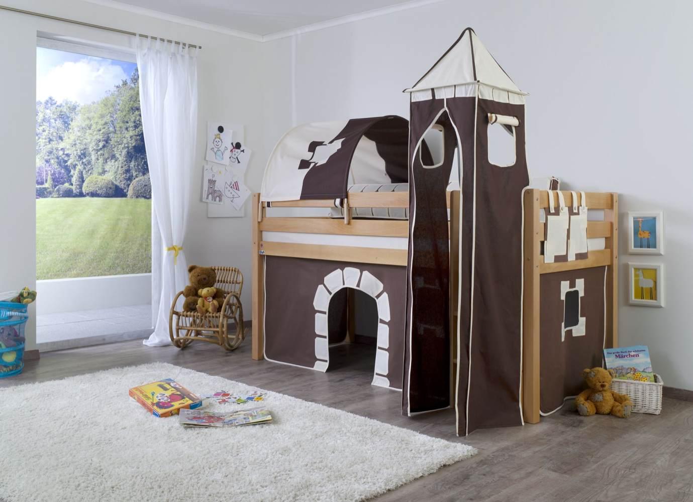 Relita Halbhohes Spielbett ALEX Buche massiv natur lackiert mit Stoffset Vorhang, 1-er Tunnel, Turm, Tasche Bild 1