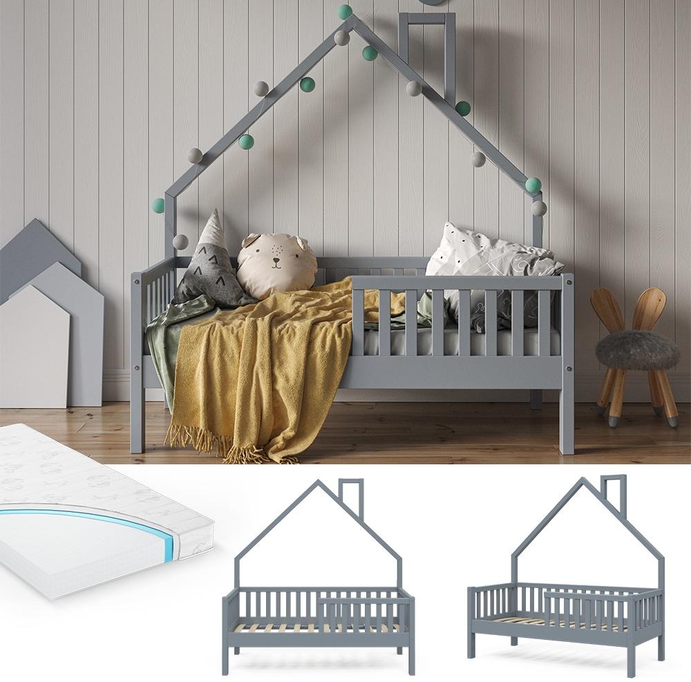 VitaliSpa 'Noemi' Hausbett grau, 70x140cm, Massivholz Kiefer inkl. Matratze, Lattenrost und Rausfallschutz Bild 1