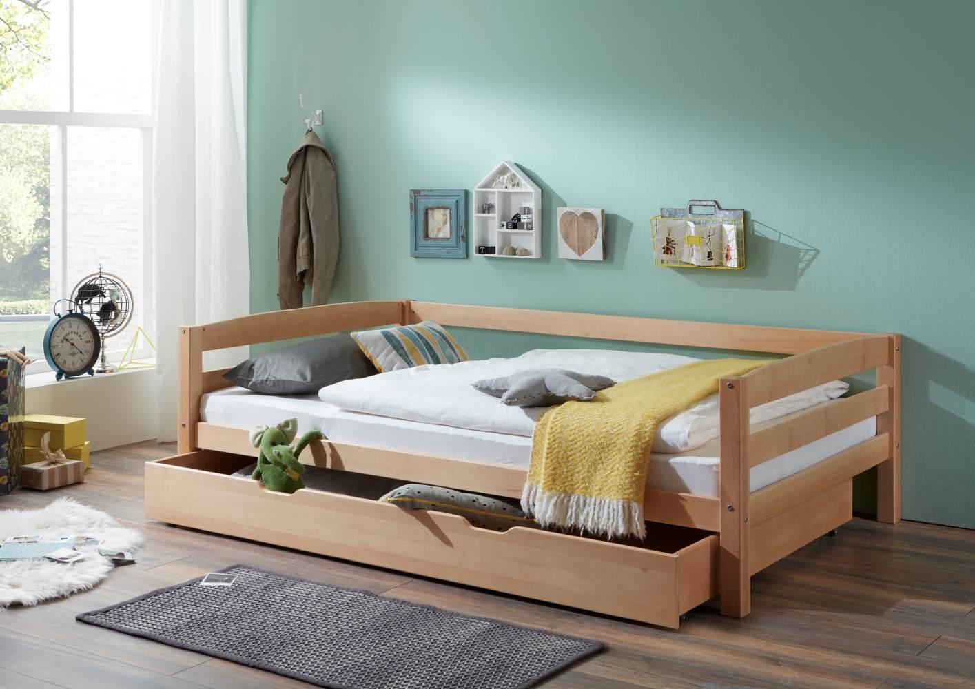Relita Einzelbett Nora mit Bettkasten in Buche massiv, ohne Lattenrost, natur lackiert, Liegefläche 90x200 cm, Bettkasten 90x190 cm Bild 1