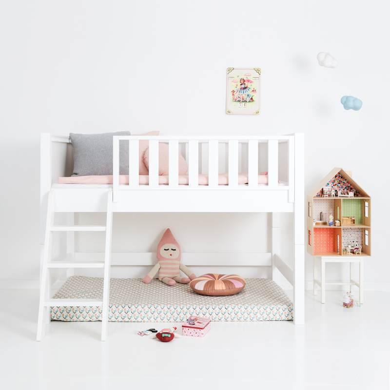 Sanders Bett halbhohes Kinderbett mit schräger Leiter Fanny 90x160 cm Bild 1