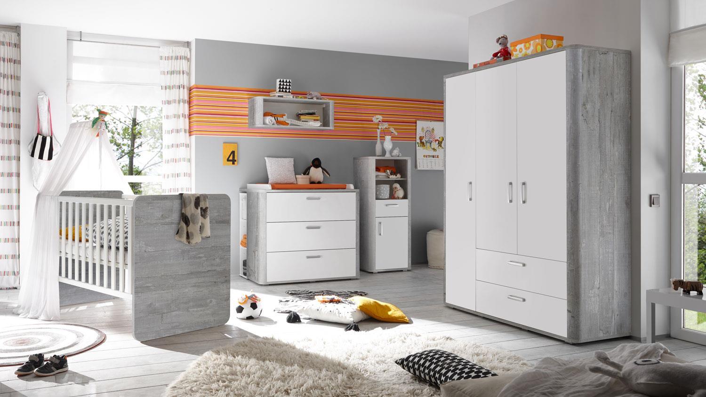 Mäusbacher 'Frieda' 5-tlg. Babyzimmer-Set, vintage wood grey/weiß matt, aus Bett 70x140 cm inkl. Umbauseiten, Kleiderschrank, Wickelkommode, Wandregal und Beistellschrank Bild 1
