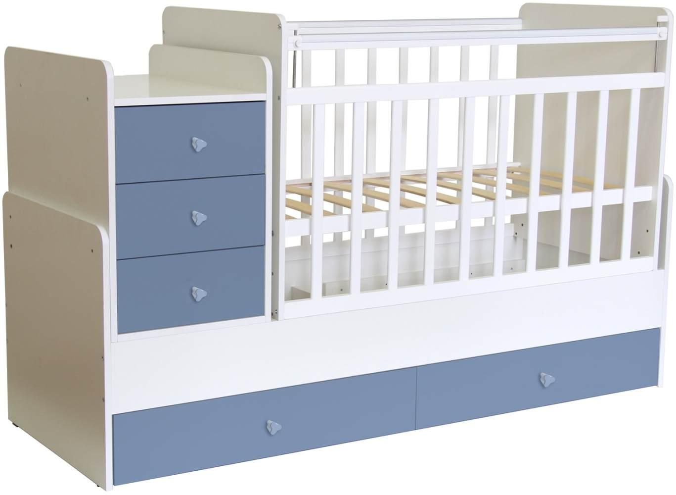 Polini Kids 'Simple 1100' Kombi-Kinderbett 60 x 120/170 cm, weiß/blau, höhenverstellbar, mit Schaukelfunktion, inkl. Kommode Bild 1