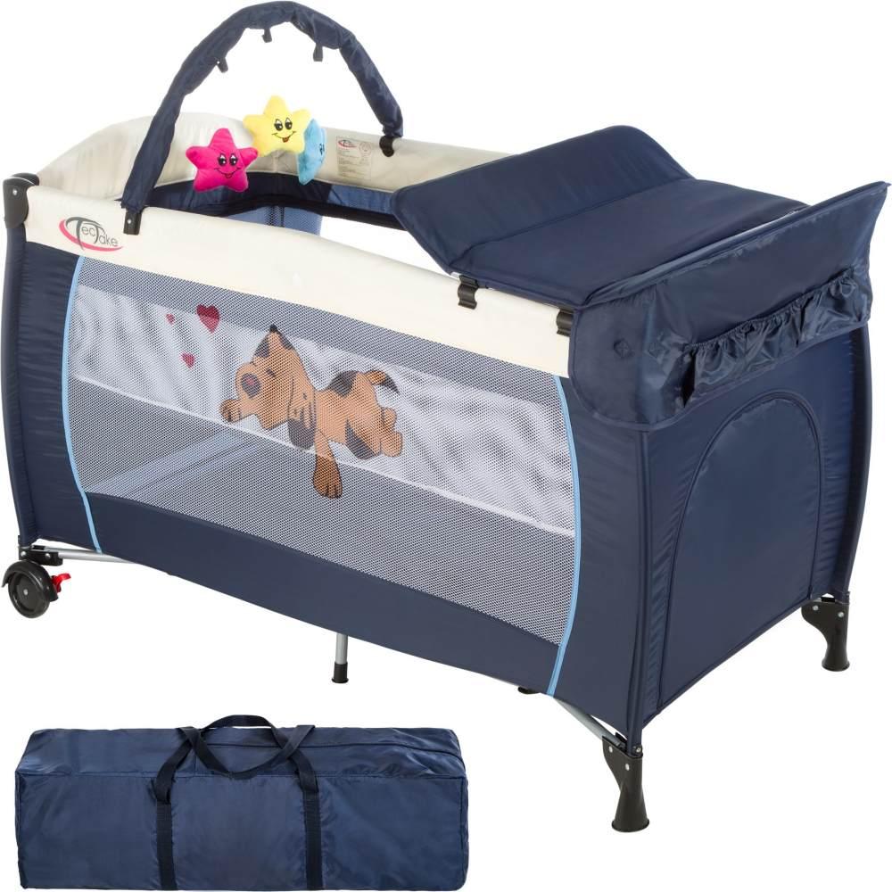 tectake 'Hund' Reisebett, Blau, höhenverstellbar, mit Schlupf, inkl. Wickelauflage und Spielbogen Bild 1