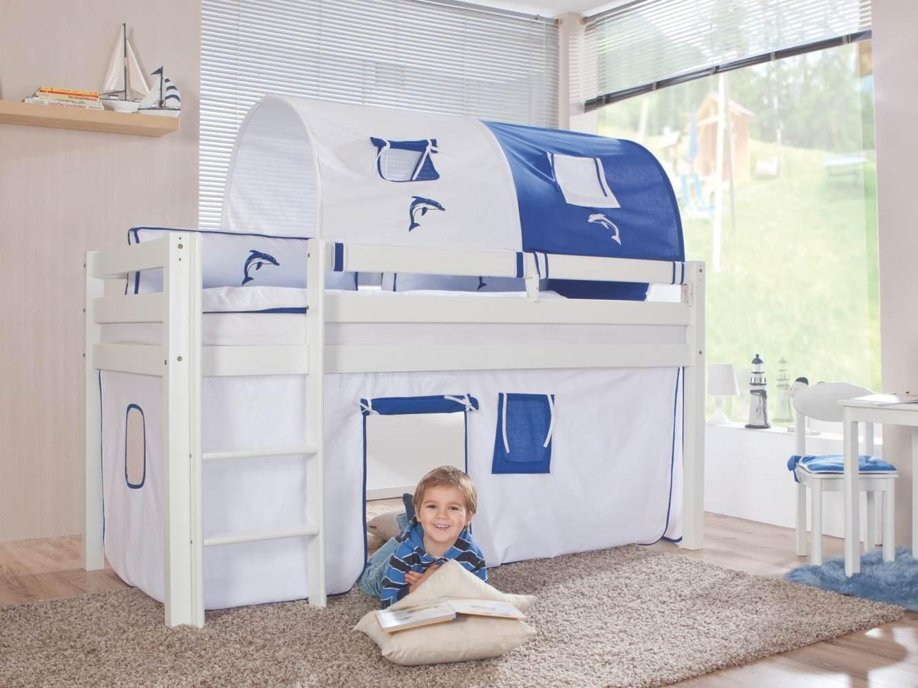 Relita Halbhohes Spielbett ALEX Buche massiv weiß lackiert mit Stoffset weiß/delfin Bild 1
