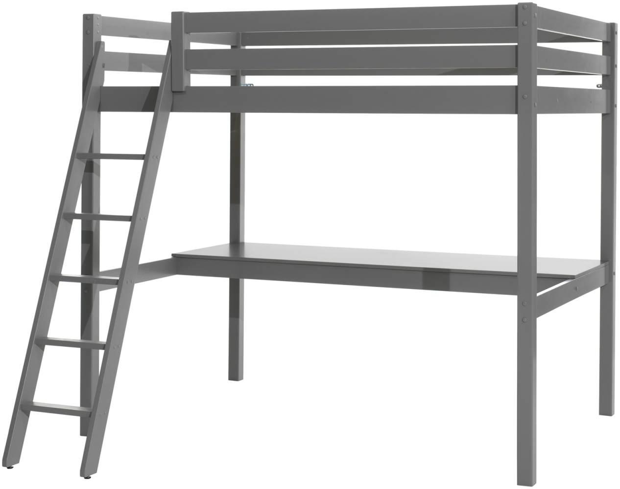 Vipack Hochbett 140 x 200 cm und großer Schreibtischplatte, Ausf. grau lackiert Bild 1