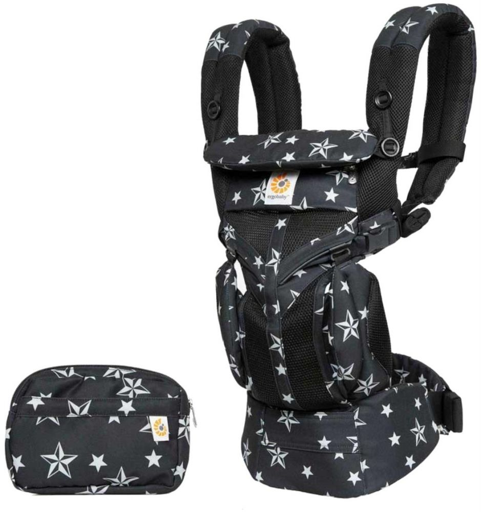 Ergobaby 'Omni 360 Cool Air' Babytrage, 4 Tragepositionen, Black Stars, inkl. abnehmbarer Beutel Bild 1