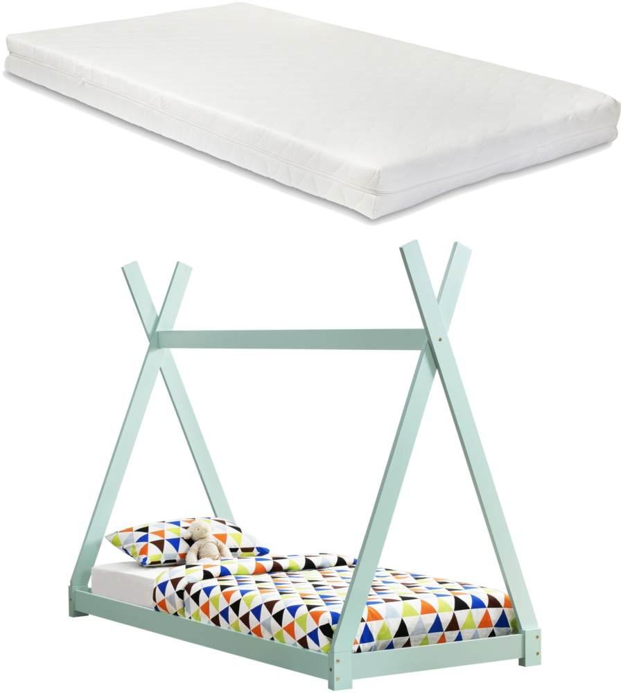 [en.casa] Tipi-Bett Mintgrün 90x200 cm, inkl. Lattenrost und Matratze Bild 1
