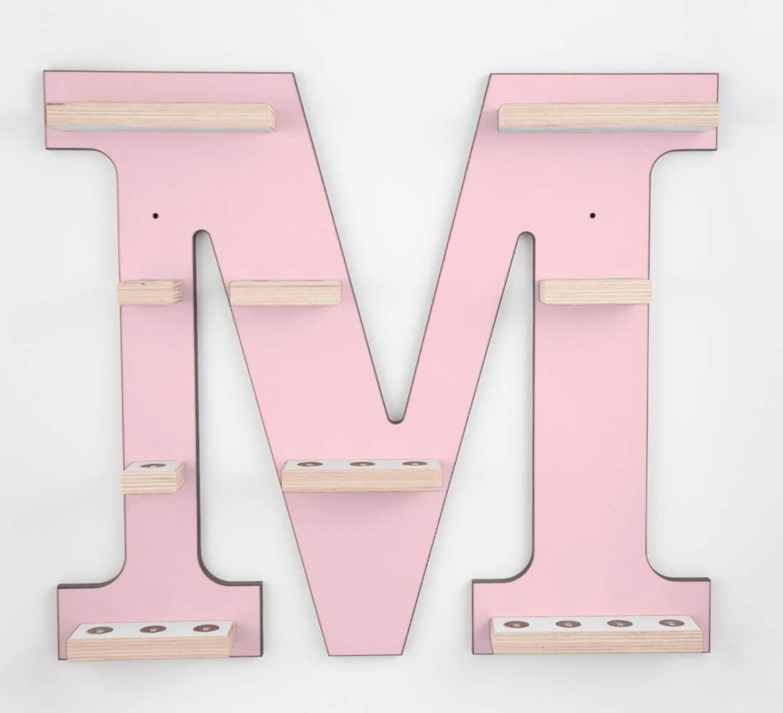 Schreinerei Linden 'Buchstabe M' Tonie Regal ohne Musikboxhalter, rosa Bild 1