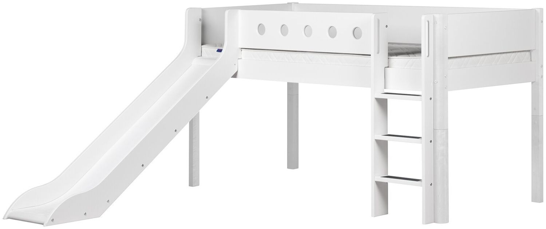 Flexa 'White' Halbhochbett mit Rutsche, weiß, gerade Leiter, 90x190cm Bild 1