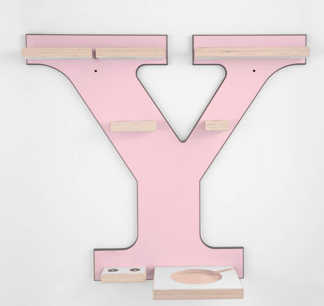Schreinerei Linden 'Buchstabe Y' Tonie Regal mit Musikboxhalter, rosa Bild 1