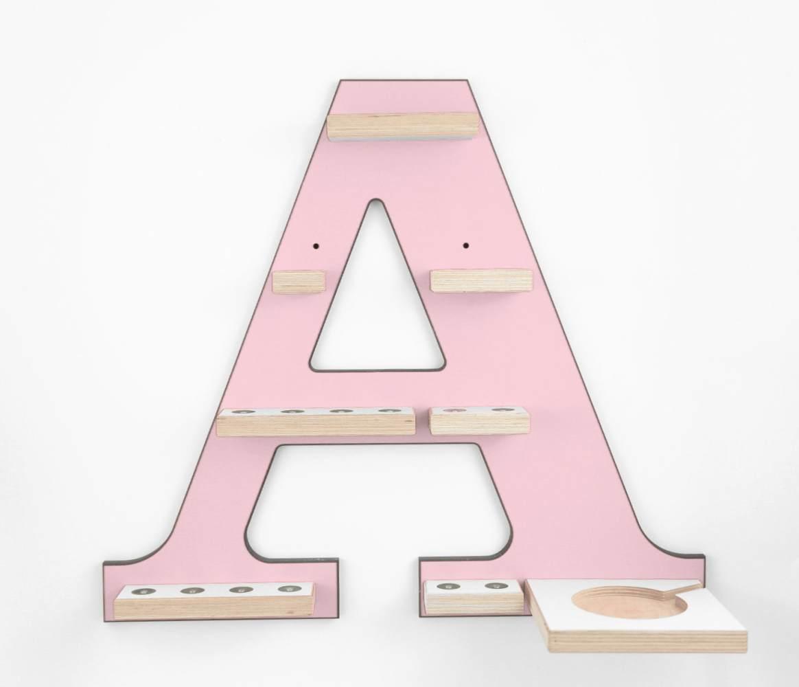 Schreinerei Linden 'Buchstabe A' Tonie Regal mit Musikboxhalter, rosa Bild 1