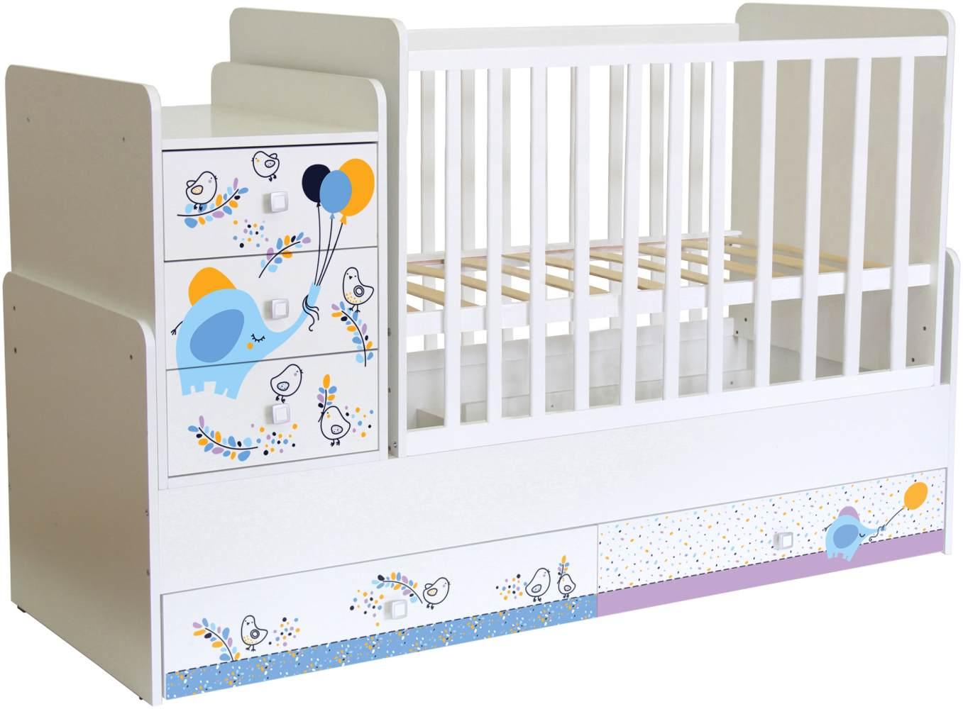 Polini Kids 'Simple 1100' Kombi-Kinderbett 60 x 120/170 cm, weiß, Elefant, höhenverstellbar, mit Schaukelfunktion, inkl. Kommode Bild 1