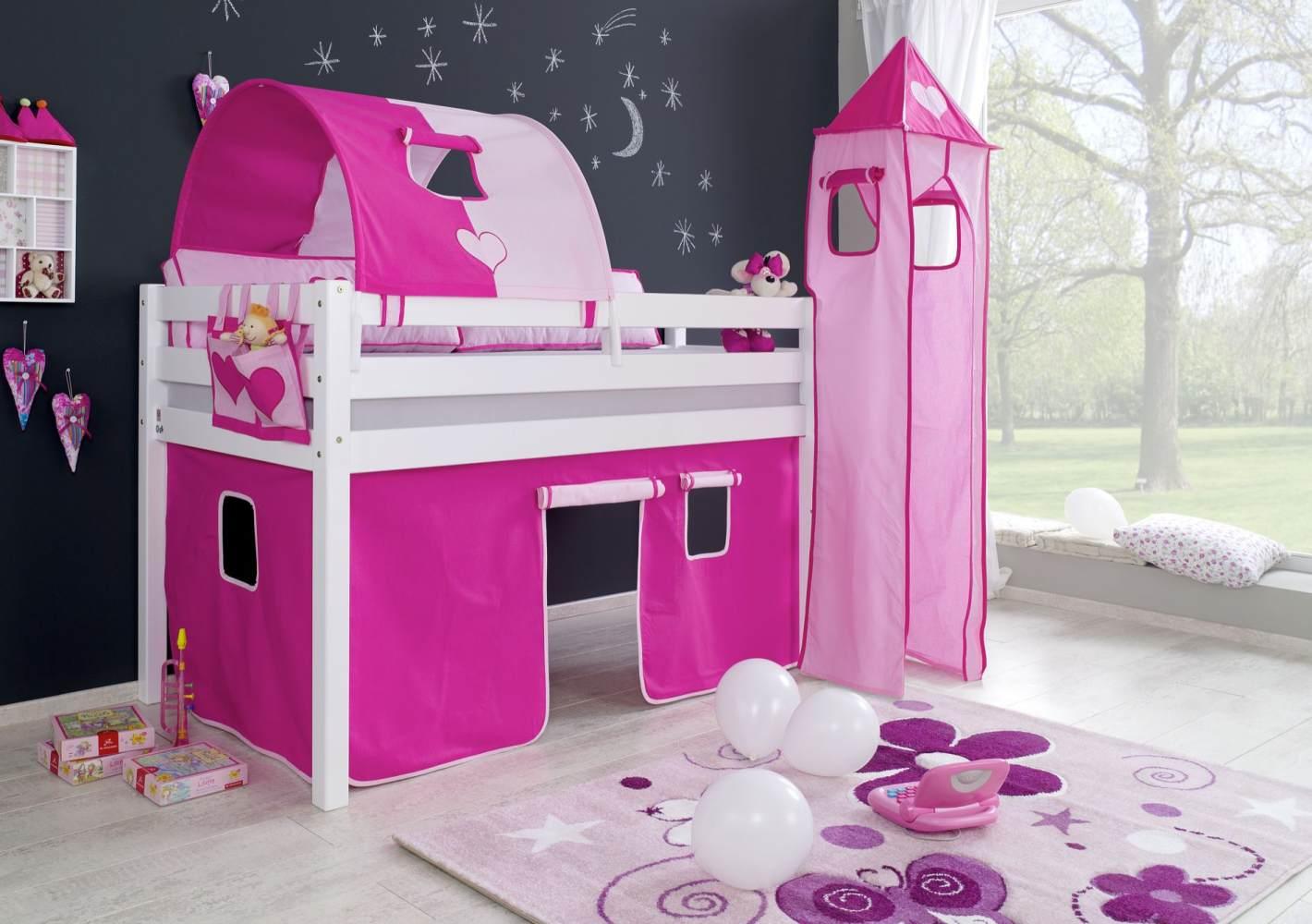 Relita Halbhohes Spielbett ALEX Buche massiv weiß lackiert mit Stoffset Vorhang, 1-er Tunnel, Turm, Tasche Bild 1