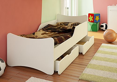 Best For Kids Kinderbett mit Schaummatratze Zwei SCHUBLADEN 90x200, weiß Bild 1