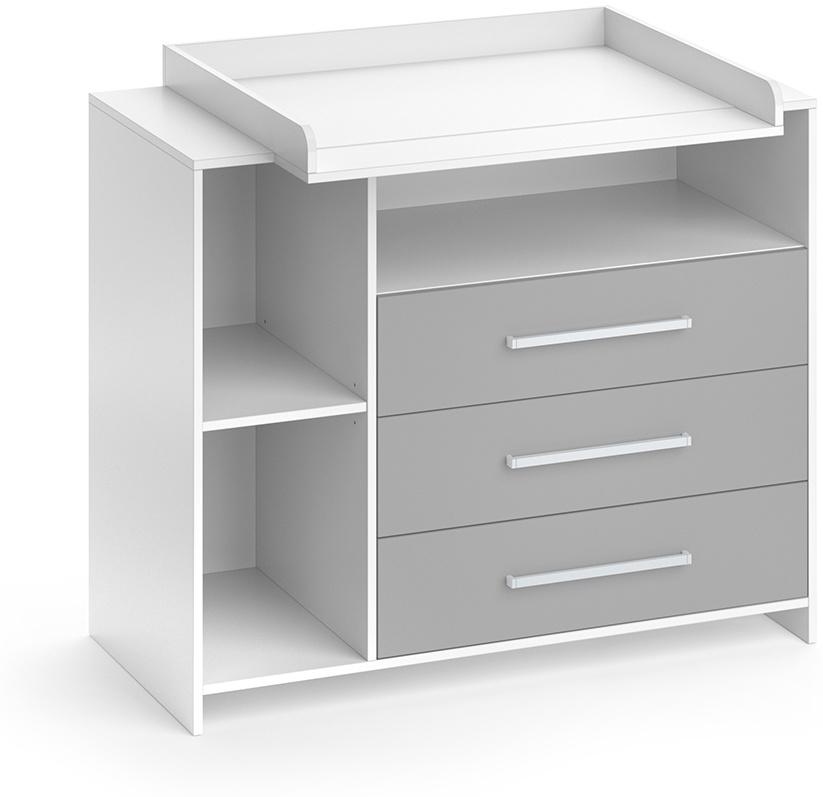 Vicco 'Oskar' Wickelkommode, Weiß/Grau, mit 3 Schubladen und 3 Fächern, inkl. abnehmbarem Wickelaufsatz Bild 1