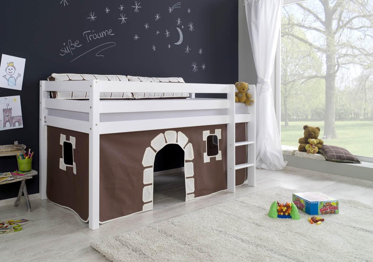 Halbhohes Spielbett ALEX Buche massiv weiß lackiert mit Stoffset Vorhang Bild 1