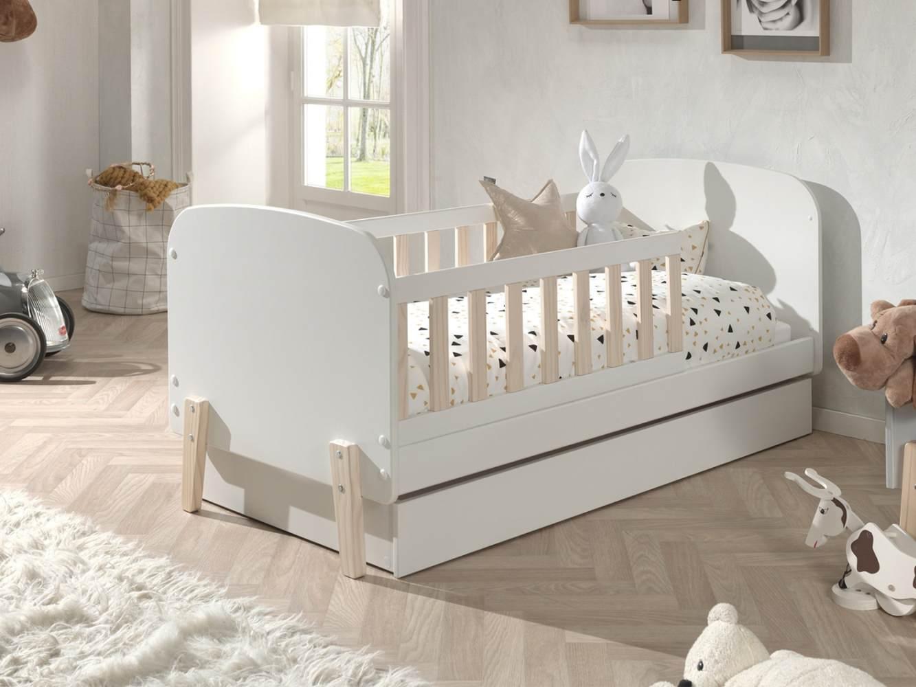 Bett Kinderbett mit Schublade Kiddy MDF und Kiefer 70x140 cm Bild 1