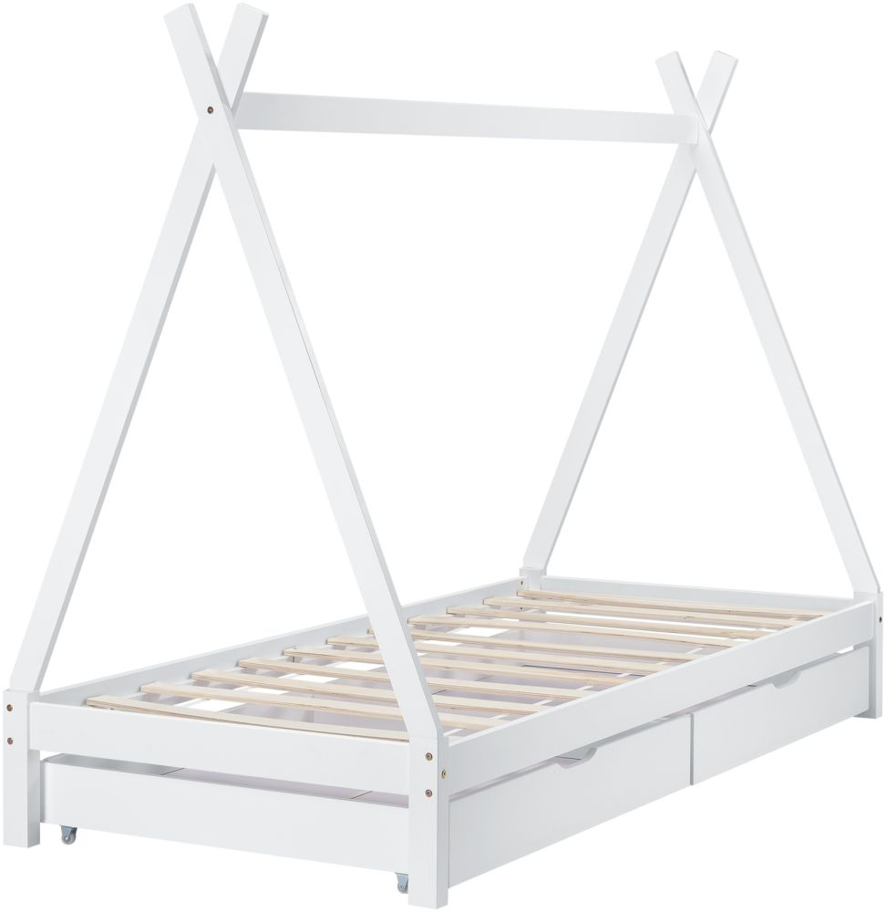 [en. casa] Tipibett Weiß 90x200 cm, inkl. Lattenrost Matratze und Schubladen Bild 1