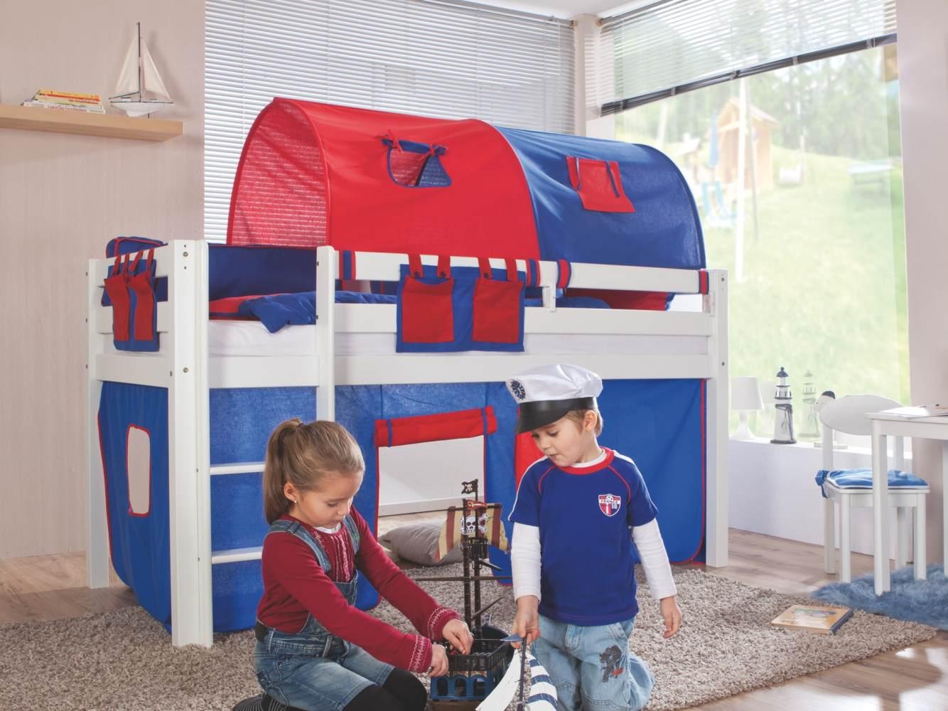 Relita Halbhohes Spielbett ALEX Buche massiv weiß lackiert mit Stoffset blau/rot Bild 1