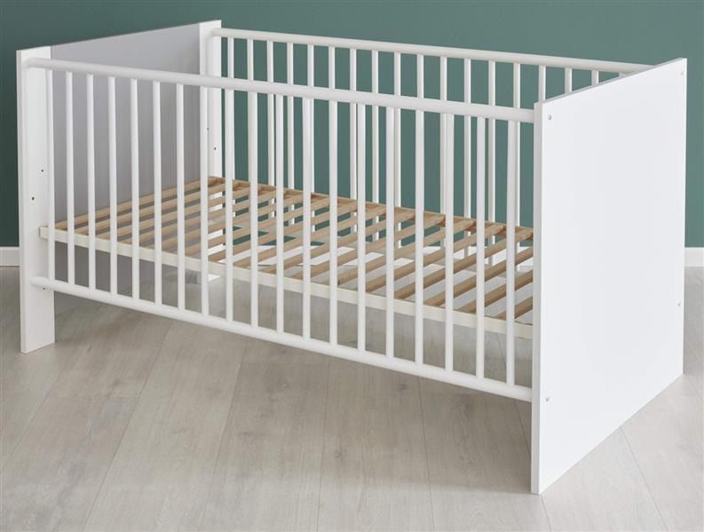 trendteam smart living Babyzimmer Babybett, Kinderbett Pia, 78 x 83 x 143 cm in Front Weiß Melamin mit Absetzungen Lichtgrau, Korpus Weiß Melamin mit Einstiegshilfe Bild 1