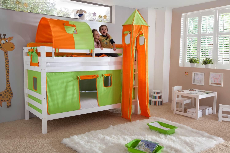 Etagenbett BENI Buche massiv weiß lackiert mit Textilset grün/orange Bild 1