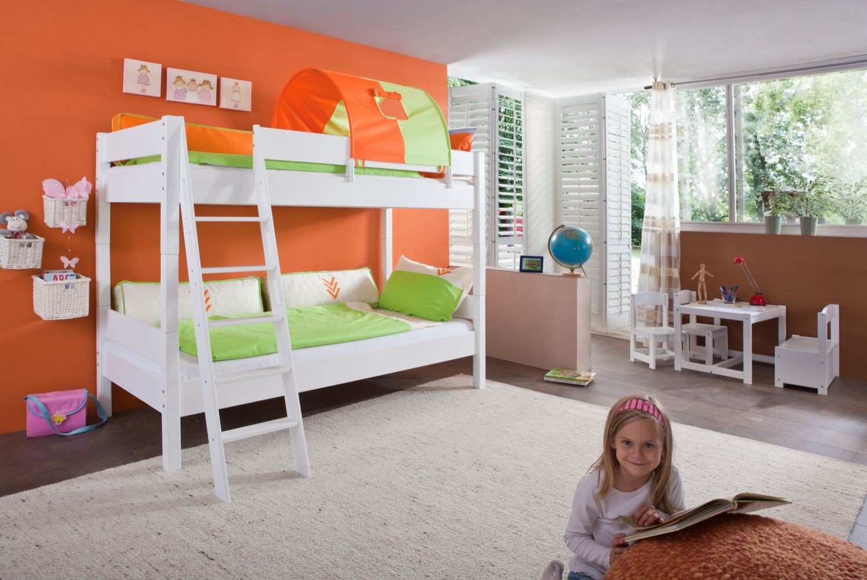 Relita Etagenbett STEFAN Buche massiv weiß lackiert mit Tunnel grün/orange Bild 1