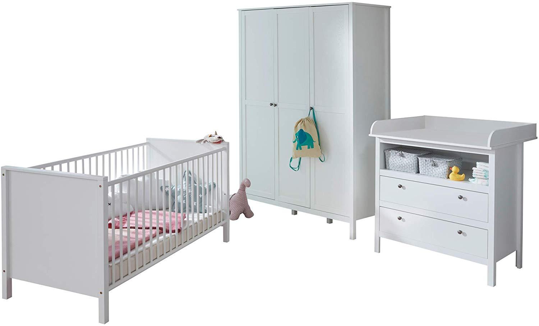 trendteam smart living Babyzimmer 3-teiliges Komplett Set in Weiß mit viel Stauraum Bild 1