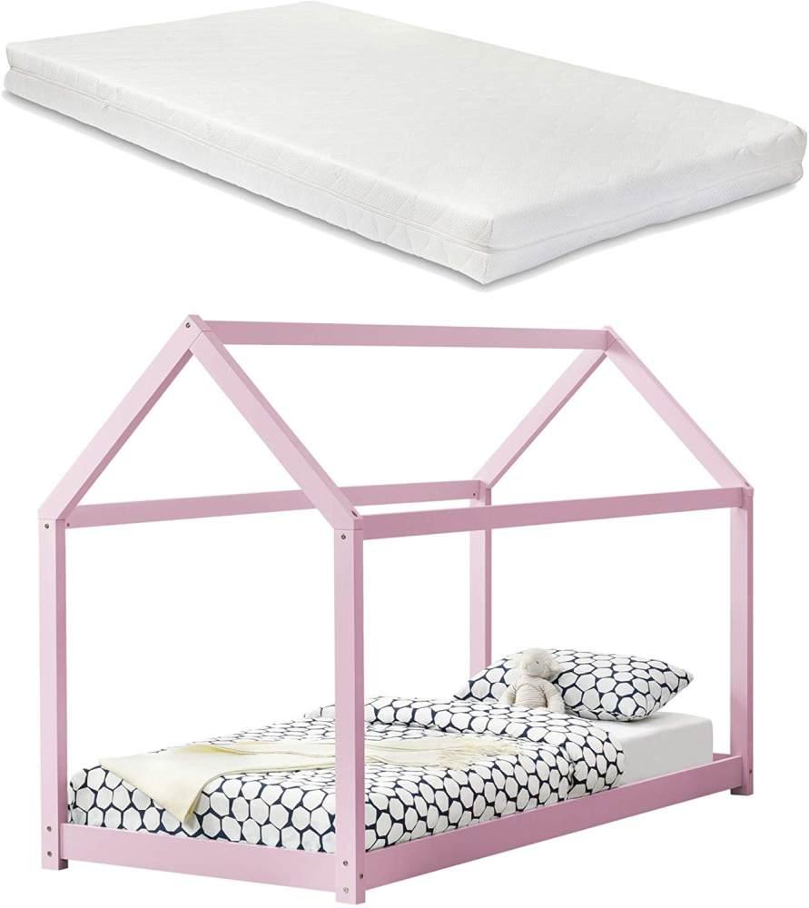 [en.casa] Hausbett mit Matratze 90x200cm rosa Bild 1