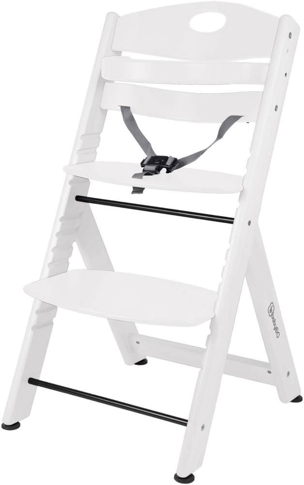 BabyGO 'Family XL' Hochstuhl, weiß, Buche massiv, höhenverstellbar, inkl. Gurt und Sicherheitsbügel Bild 1