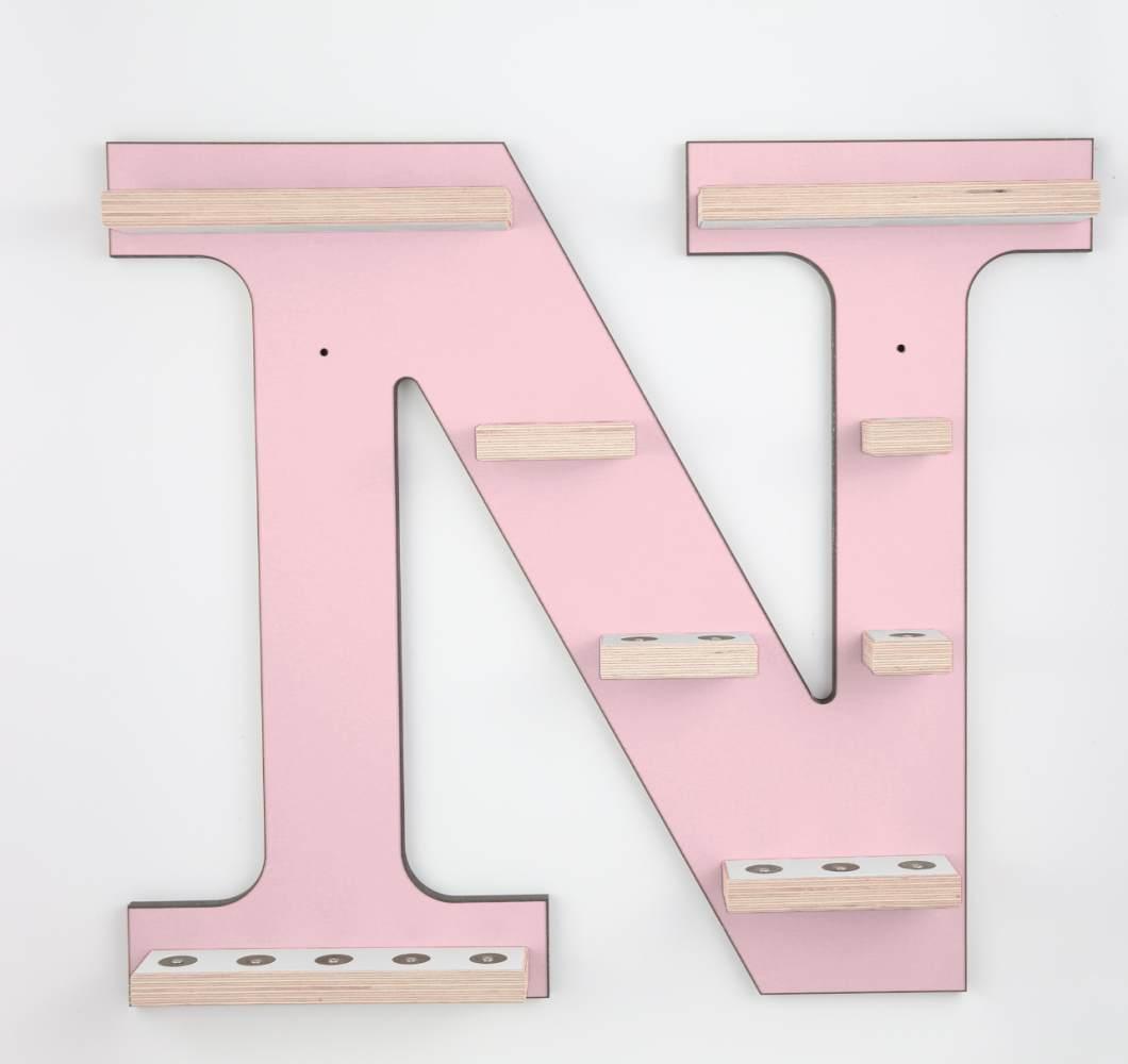 Schreinerei Linden 'Buchstabe N' Tonie Regal ohne Musikboxhalter, rosa Bild 1