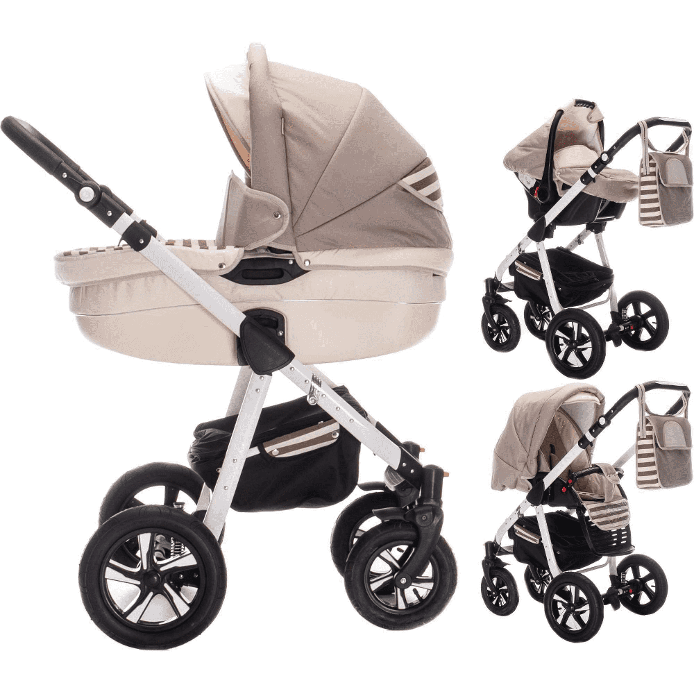 Friedrich Hugo PCS_MANDALA-DE-N12-GUM Friedrich Hugo Mandala, 3 in 1 Kombi Kinderwagen, Farbe - Latte Macchiato Hartgummi, beige Bild 1