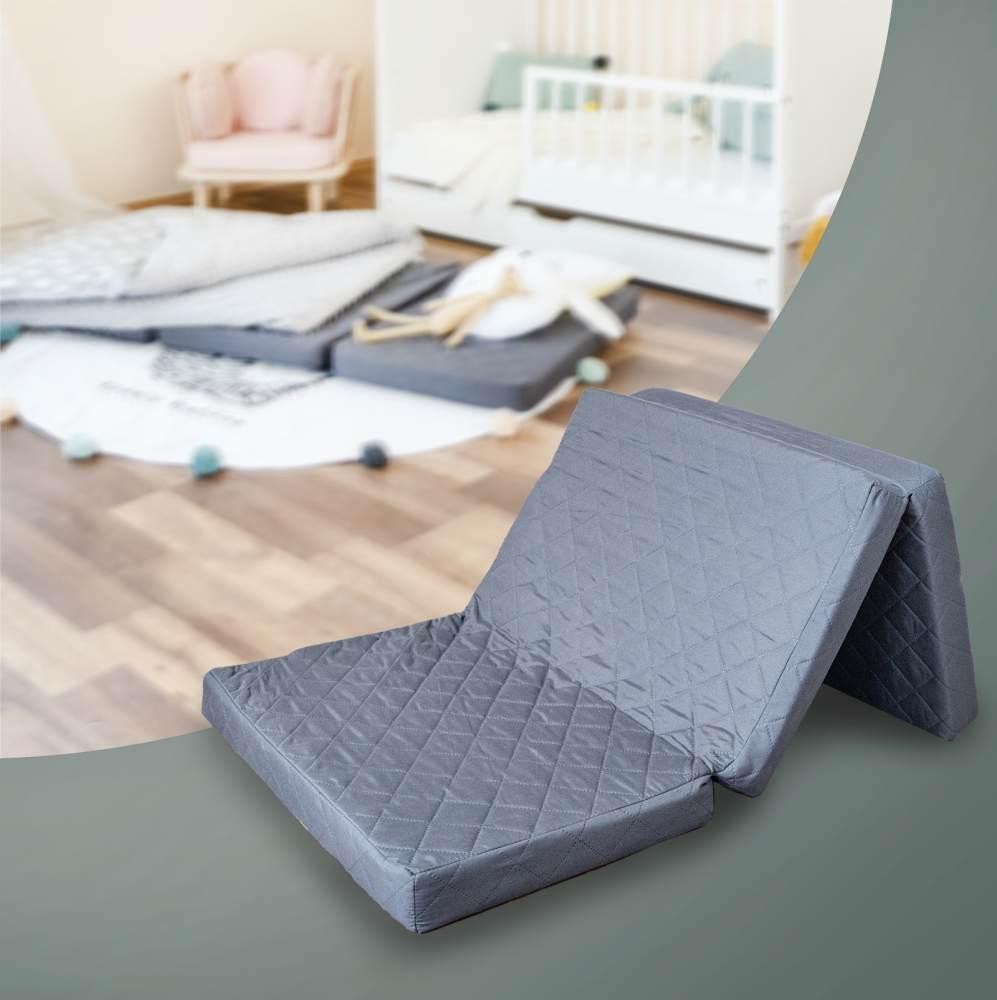 Alcube Reisebett Matratze 120 60 Klappbar – für ein Baby Reisebett oder Gästematratze Inkl. Matratzenhülle SCHWARZ Bild 1