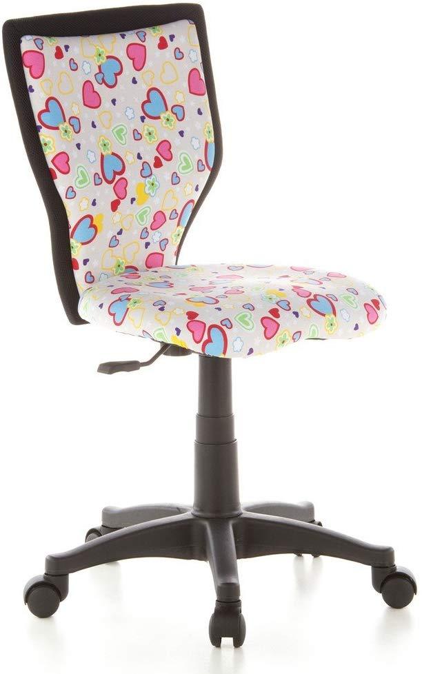 hjh OFFICE 670070 Kinder- und Jugenddrehstuhl KIDDY LUX Stoff Blumen & Herzen Kinder-Bürostuhl, Rückenlehne ergonomisch Bild 1