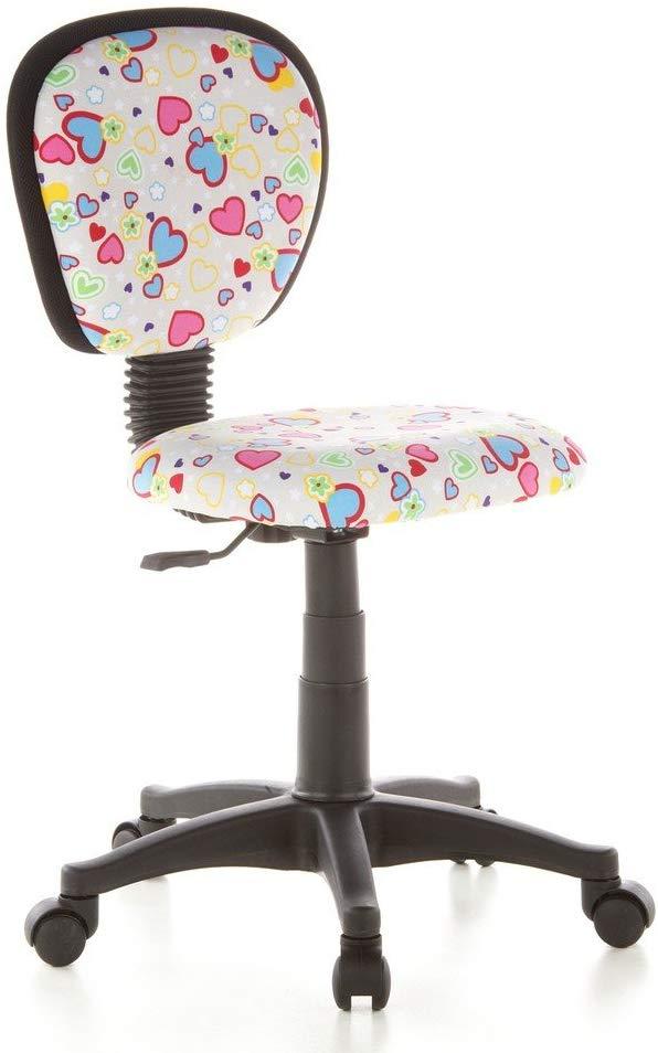 hjh OFFICE 670170 Kinderdrehstuhl KIDDY TOP Netzstoff Herzen/Blumen Kinderbürostuhl mit Rückenlehne, höhenverstellbar Bild 1