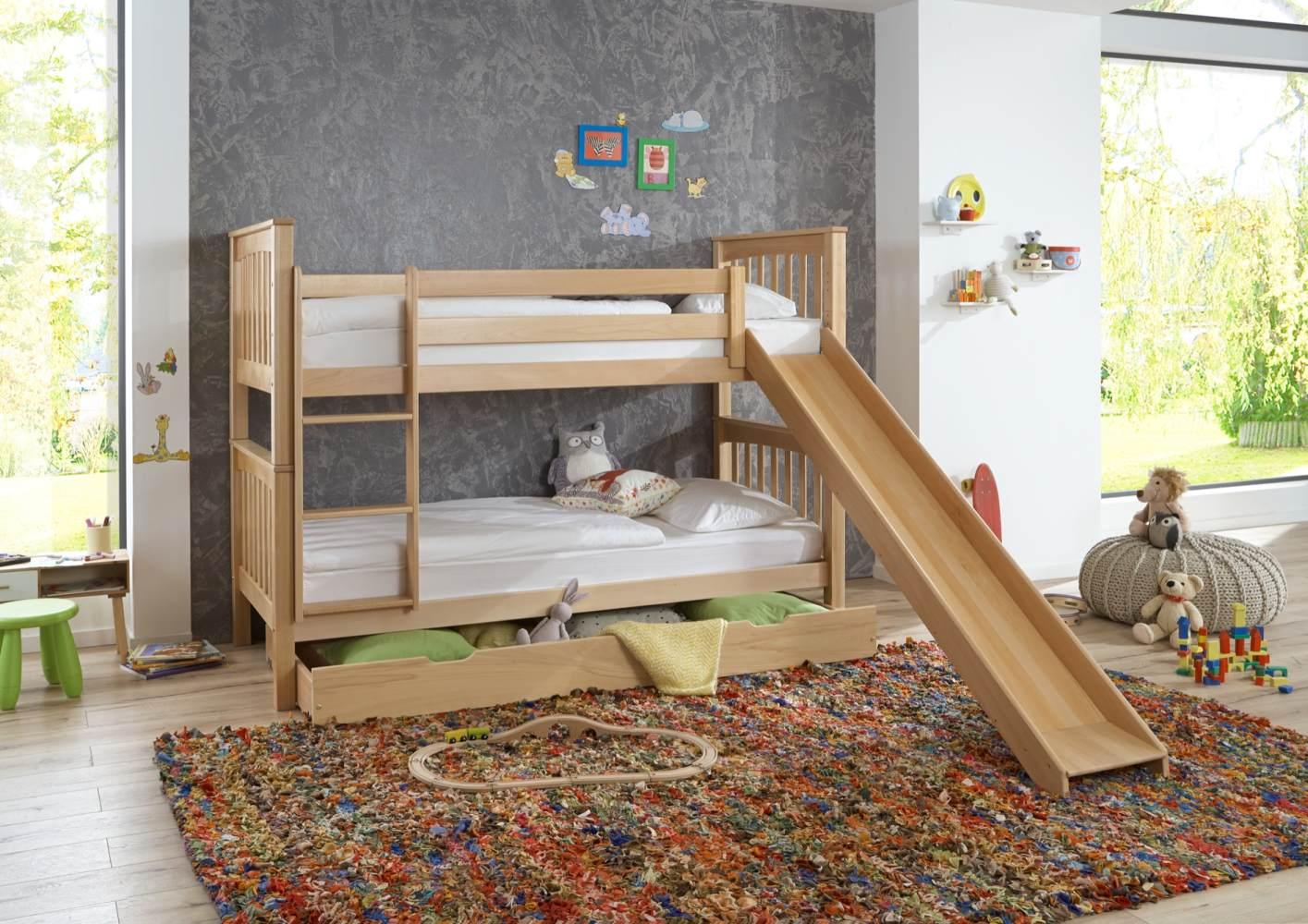 Relita 'Kick' Etagenbett 90x200 cm, natur, mit Rutsche, inkl. Lattenroste und Bettkastenschublade Bild 1