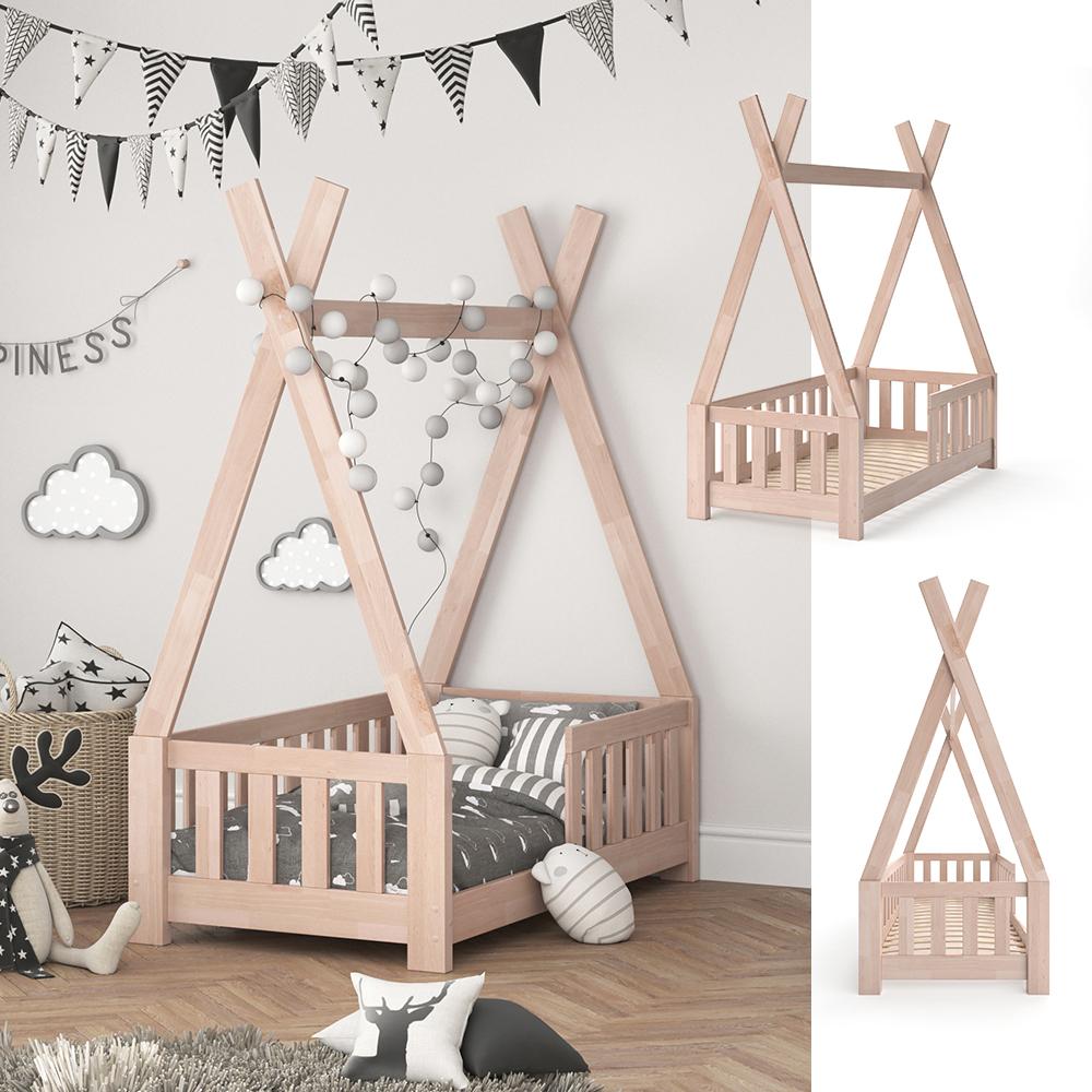 VitaliSpa 'Tipi' Kinderbett, Weiß, 70 x 140 cm, inkl. Rausfallschutz und Lattenrost, Buche massiv Bild 1