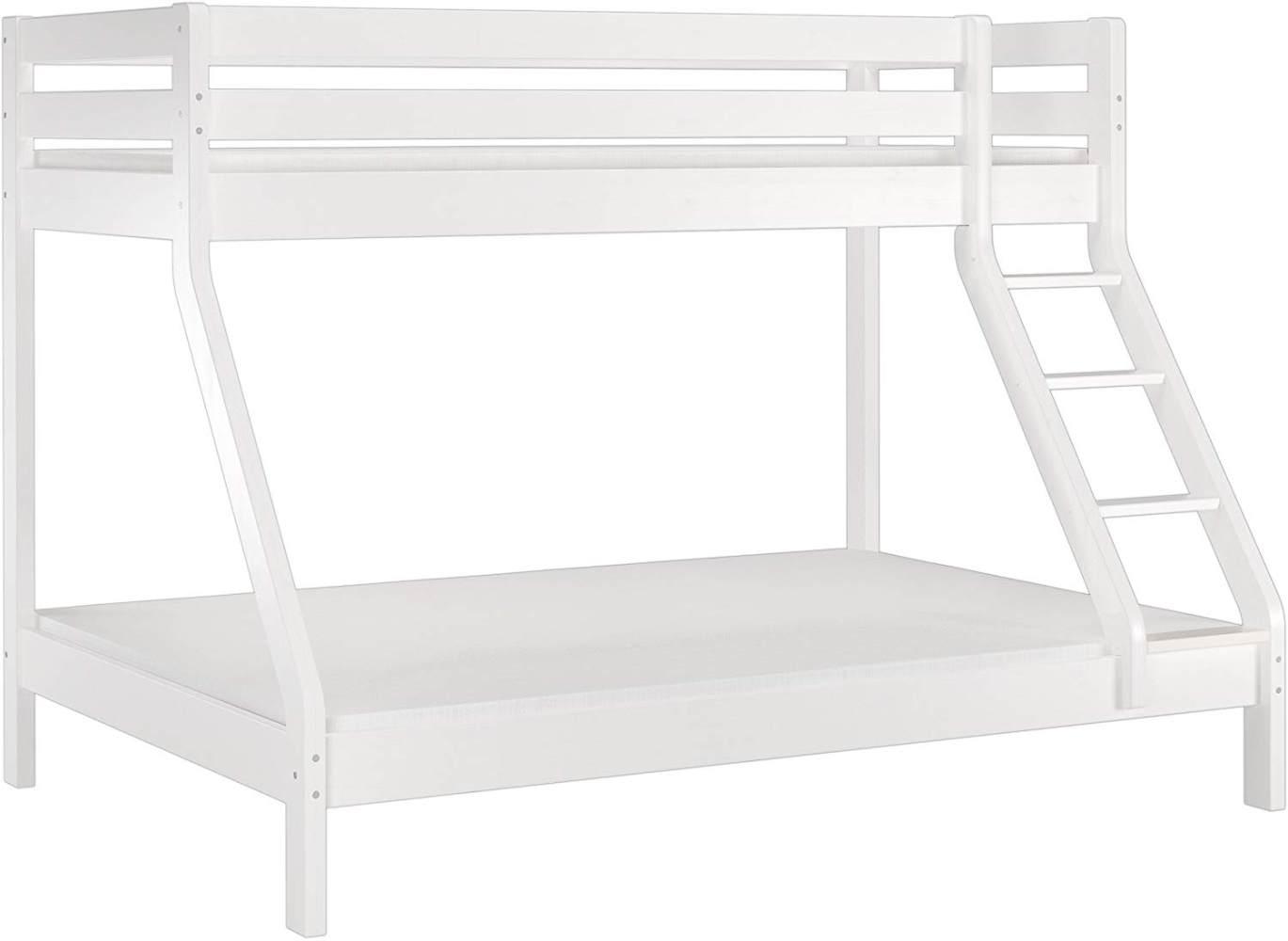 Erst-Holz Etagenbett Kiefer 90x200/140x200 cm, weiß Bild 1