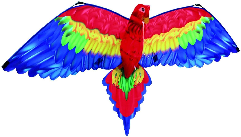 Paul Günther 1152 - 3D Drachen Papagei Cora, Einleinerdrachen mit farbenprächtigem Segel aus hochwertigem Polyester, für Kinder ab 6 Jahre, mit Schnur und Griff, ca. 144 x 80 cm groß Bild 1