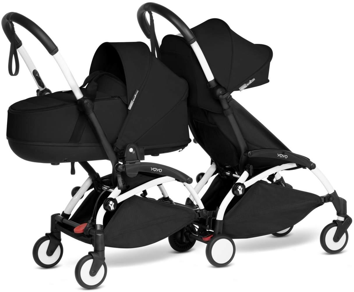 Babyzen YOYO2 weißer Rahmen mit CONNECT komplett für 1 Neugeborenes und 1 Kind von 6 Monaten + Farbe schwarz Bild 1